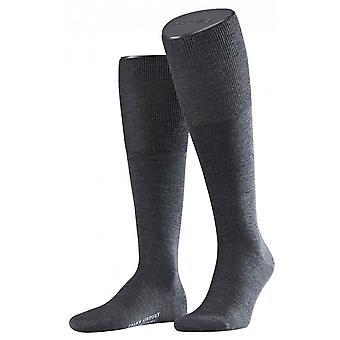 Falke Airport sokken knie hoge - asfalt grijs