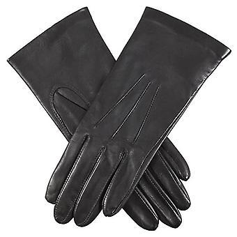 Bucklor Elizabeth siden fodrad smidig Grain läderhandskar - svart