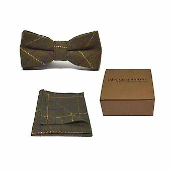 Heritage Check Regency Green Men's Bow Tie & Pocket Square Set | Boxed