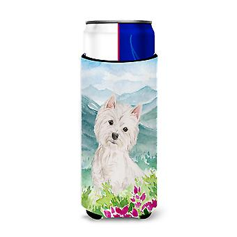 Mountian Flowers Westie Michelob Ultra Hugger for slim cans