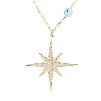 Latelita Star Burst Evil Eye Pendant Necklace CZ Sterling Silver Gold 22ct