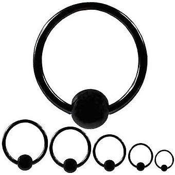 BCR Piercing Black, Ball Closure Ring, Body Jewellery, Thickness 1,6 mm | Diameter 8 - 16 mm