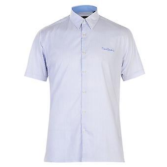 بيير كاردان رجالي ضئيلة قميص الطباعة هندسية تناسب كم قصير تي عارضة أعلى المحملة