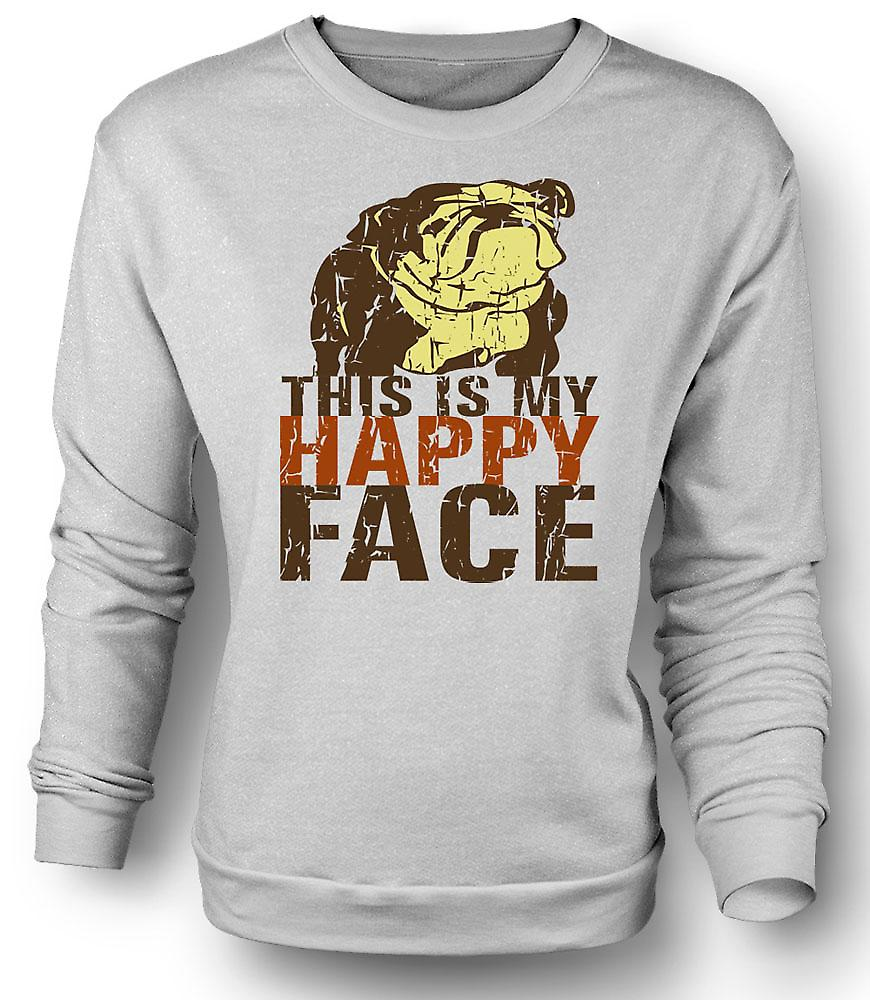 Mens Sweatshirt Bulldog - This Is My Happy Face