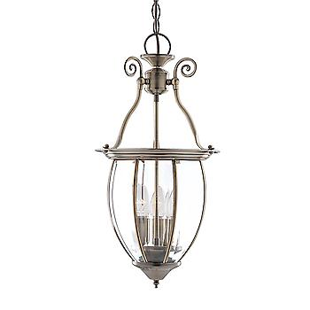 Searchlight 9501-3 Solid Antique Brass Lantern with 3 Lights