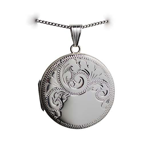 Silver 29mm half hand engraved flat round Locket with a curb Chain 18 inches