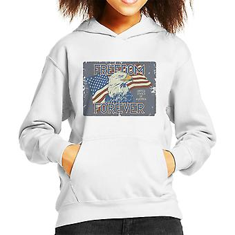 USA Freedom Forever Bald Eagle Kid's Hooded Sweatshirt