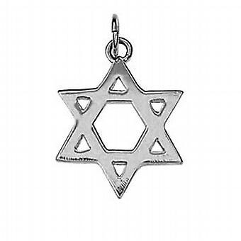 18 mm zwykły Star of David wisiorek srebrny
