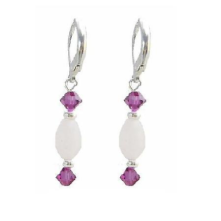 Oval Barrel Rose Quartz Crystals w/ Fuchsia Bicone Hoop Earrings