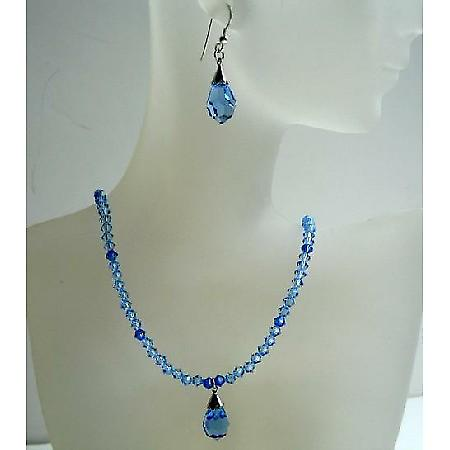 Handmade Swarovski Jewelry Sapphire Crystals Tear Drop Pendant Earring