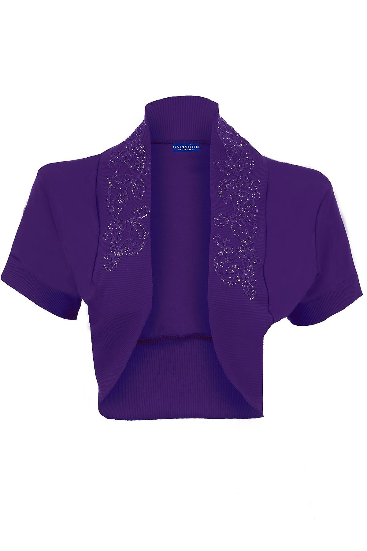 Ladies Beaded Open Short Sleeve Bolero Cardigan Women's Shrug