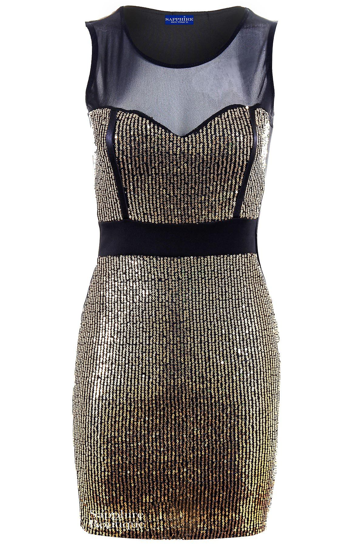 Ladies Sleeveless Mesh Insert Sequin Panel Women's Bodycon Short Party Dress