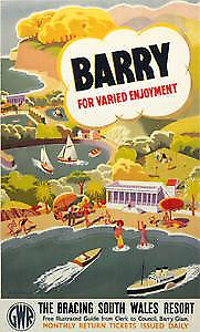 Barry, South Wales (old rail ad.) fridge magnet   (se)