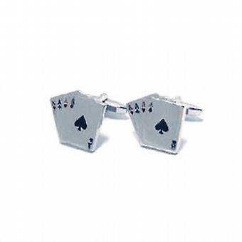 Artamis Gents Rhodium Plated Playing Cards Cufflinks In Presentation Box