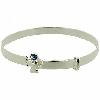 Jo For Girls Sterling Silver September Birthstone Angel Sapphire Color Bangle