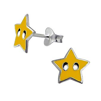 Children's Sterling Silver Gold Super Star Stud Earrings