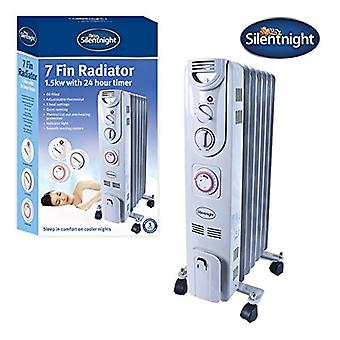 Silentnight 7 Fin 1.5kW Oil Filled Radiator With Timer 1500 Watt White