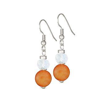 Eternal Collection Rhapsody Orange Agate And Crystal Drop Pierced Earrings