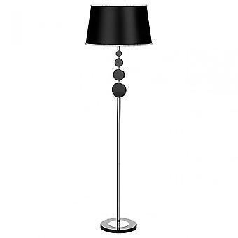 Premier Home Elliptical Floor Lamp, Chrome, Crystal, Fabric, Black