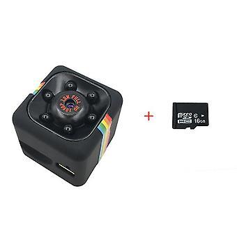 Mini fotocamera sq11 full hd 1080p camcorder registratore vocale infrarossi notte visione sport dv cam rilevamento movimento aggiungere 16gb scheda nera