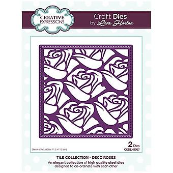 Creative Expressions Die Set Deco Roses by Lisa Horton Set of 2 | Tile Collection