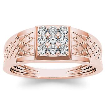 IGI Certified 10k Rose Gold 0.33 Ct Diamond Men's Cluster Wedding Band Ring