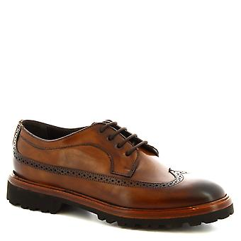 Leonardo Shoes Women's handmade lace-ups brogues shoes in brandy calf leather
