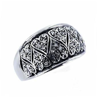 Cz Ring Stainless Steel Diamond Hearts