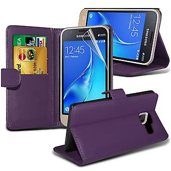 i-Tronixs Samsung Galaxy J1 Nxt PU Leather Wallet Classic Flip Case + Screen Protector Guard -Purple