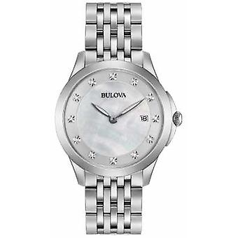 Bulova Womans Stainless Steel Silver Diamond 96S174 Watch