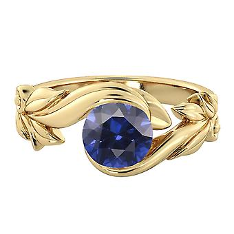1.00 ctw Blue Sapphire Ring 14K Yellow Gold Flower Leaves Leaf