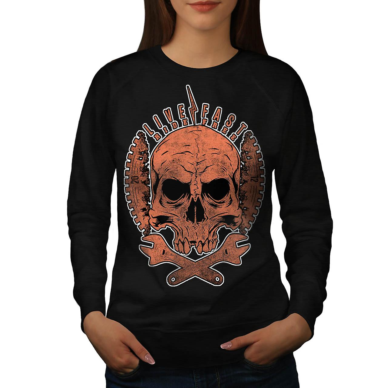 Live Fast Ride Free Biker Skull Women Black Sweatshirt | Wellcoda