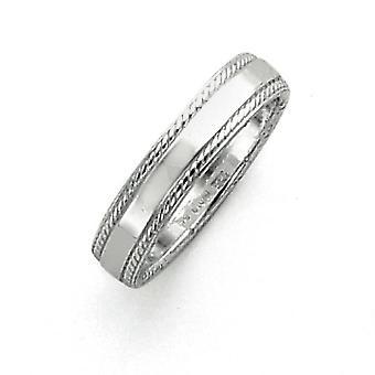 Sterling sølv 4mm Design kant Band Ring - ringstørrelse: 4-12