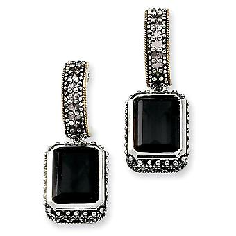 Sterling Silver With 14k 10.00Black Simulated Onyx Earrings - 10.00 cwt