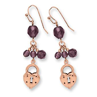 Shepherd hook Copper-tone Heart and Lock with Purple Crystals Earrings