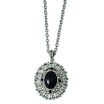 Silver-tone Black Crystal 22 tums halsband
