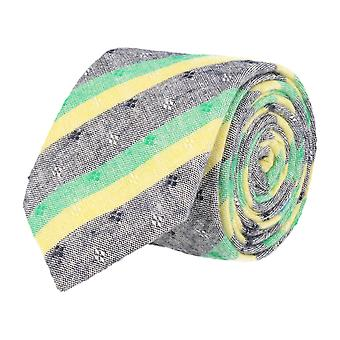Snobbop narrow tie Club tie cotton blue green yellow floral washed out 6 cm
