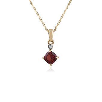Gemondo 9ct Yellow Gold 0.68ct Garnet & Diamond Pendant on 45cm Chain