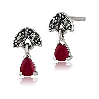 Sterling Silver 0,39 ct Ruby & Marcasite luglio Stud Earrings