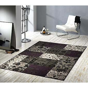 Design velour carpet patchwork look purple / grey / beige 101185