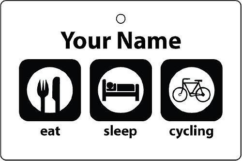 Personalised Eat Sleep Cycling Car Air Freshener