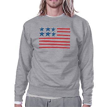 USA Flag Bandiera americana carina Design Felpa Unisex in pile grigio