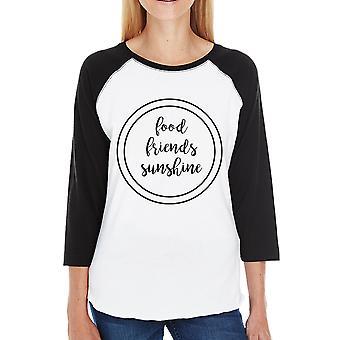 Raglan Shirt met voedsel vrienden Sunshine zwarte mouwen voor vrouwen katoen