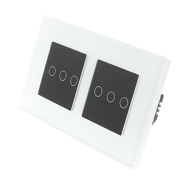 J'ai LumoS blanc verre Double châssis 6 Gang 2 façon tactile LED lumière Switch Insert noir