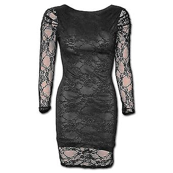 Spiral Direct Gothic GOTHIC ELEGANCE - Fullsleeve Lace Lined Dress Black|Gothic