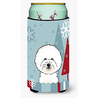 Winter Holiday Bichon Frise Tall Boy Beverage Insulator Hugger
