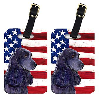 Pair of USA American Flag with Cocker Spaniel Luggage Tags