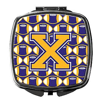 Letter X Football Purple and Gold Compact Mirror