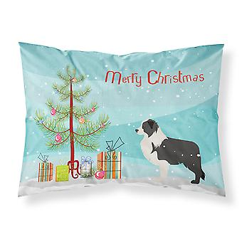 Black Border Collie Merry Christmas Tree Fabric Standard Pillowcase