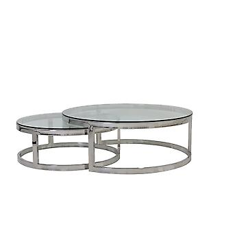 Light & Living Coffee Table S/2 Ø100x35+Ø79x29 Cm MILAGRO Glass Nickel